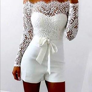 COPY - White lace one piece romper with sash tie